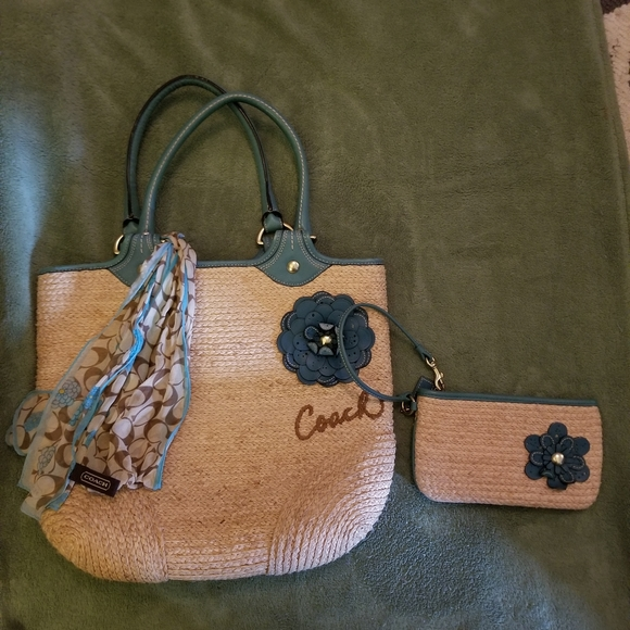 Coach straw bag with matching wristlet and scarf